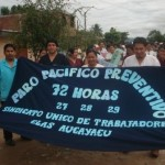 Protestan contra ley que pretende el despido de 46 trabajadores contratados del Hospital de Aucayacu