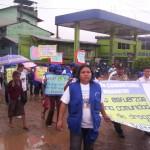 Forman gran cadena humana contra las drogas en Manantay, Ucayali
