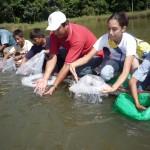 Laguna Los Milagros recupera vida tras la siembra de 5 mil peces alevinos en sus aguas