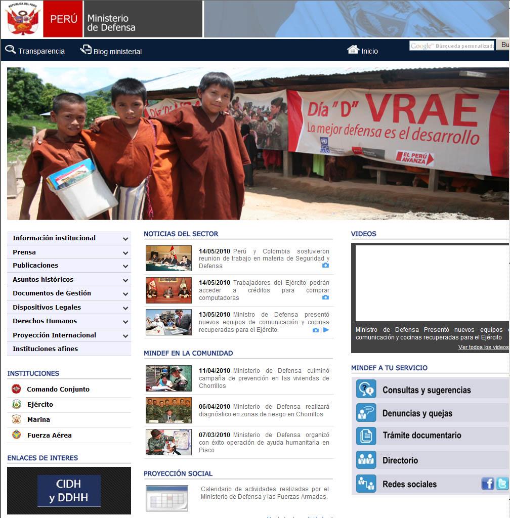 Ministerio de defensa renueva su p gina web e ingresa a for Pagina web ministerio interior