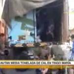 Incautaron cerca de media tonelada de cal que era llevada a Aguaytía para elaborar droga (video)