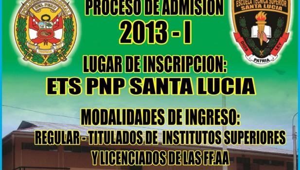 Amplían inscripción para Escuela PNP de Santa Lucía
