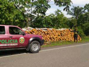 Aucayacu: Policía incautó 1 500 pies tablares de madera