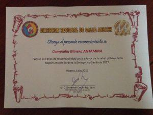 Diresa Ancash reconoce a Antamina por apoyo ante efectos del Niño Costero