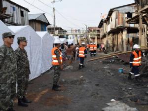 Iquitos: Ejército desarrolla remoción de escombros en zona afectada por incendio