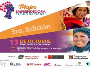 Sierra y Selva Exportadora premiará a la mujer emprendedora del Perú