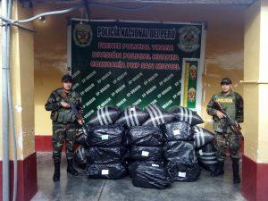 Policía decomisa más de una tonelada de hoja de coca en el Vraem