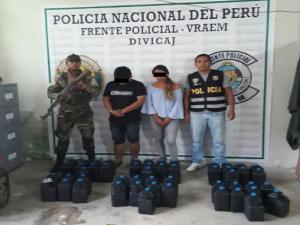 Vraem: Policía incauta más de 220 kilos de insumos usados para elaboración de droga