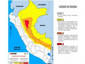 Se esperan lluvias intensas con acumulados mayores a 80 mm en la amazonía peruana