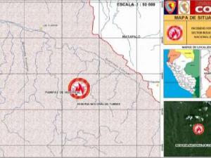 Combaten incendio forestal en Tumbes