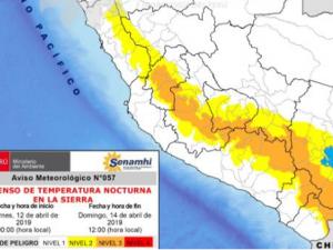 Del 12 al 14 de abril disminuirá la temperatura nocturna en la sierra