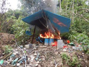 Destruyen siete pozas para elaboración de cocaína en el Vraem