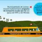 Escolares de Loreto y Ucayali llegarán a sus colegios en lanchas