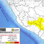 Anuncian precipitaciones en la sierra sur del país